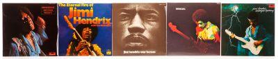 "JIMI HENDRIX, 5 Álbumes con 5 LPs de vinilo.  ""Midnight Lighting"" (1975)."