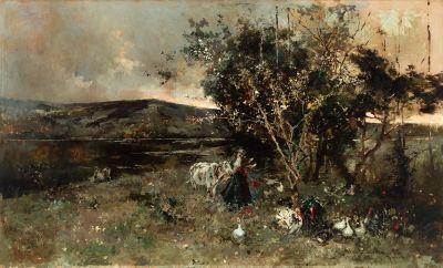 "SALVADOR SÁNCHEZ BARBUDO (Jerez de la Frontera, Cádiz, 1857 – Roma, 1917). ""Paisaje con campesina""."