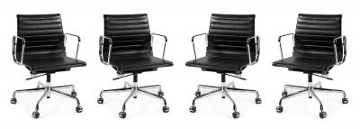 CHARLES EAMES (USA, 1907 - 1978) & RAY EAMES (USA, 1912 - 1988) for VITRA Editor.Set of four Aluminum Chair EA 117 in black color.