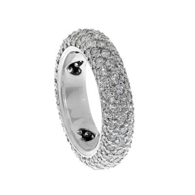 Alliance ring in 18 kt white gold. With diamonds, brilliant cut, H color, VS-Si purity and ca.