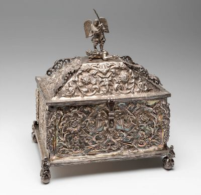 Colonial chest, Bolivia 18th century.Embossed sterling silver.