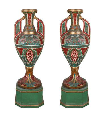 Pair of Nasrid style vases. Granada, second half of the 19th century.