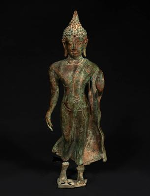 Buddha figure; Indonesia, Java, 7th-10th centuries.Bronze, with remains of polychrome.