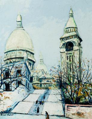 """Vista de la Basílica del Sacré Coeur nevada"" ELISÉE MACLET"