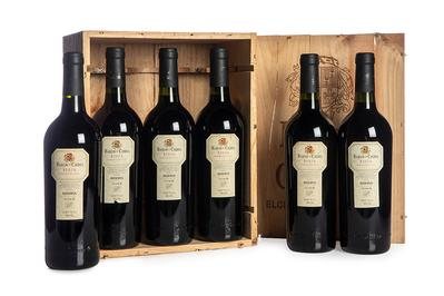 Seis botellas de vino Barón de Chirel, reserva 1996.