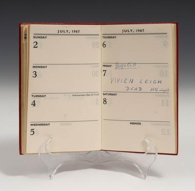 Agenda personal de Vivien Leigh de 1967, año de defunción de la actriz.