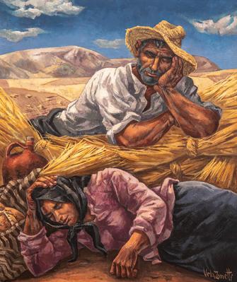 """JOSÉ VELA ZANETTI. """"Campesinos descansando después de la siega""""."""