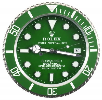 Esfera en verde con indicación de horas mediante trazos