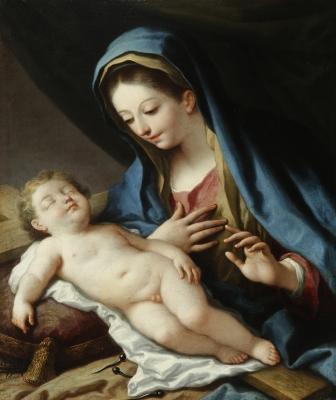 """""""La Virgen en contemplación del Niño"""" BAYEU Y SUBÍAS, F"""