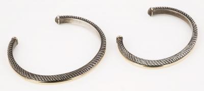 Pareja de esclavas en plata de ley de 925 y oro amarillo de 18 kts.
