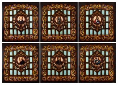 Conjunto de seis vidrieras.Conjunto de seis vidrieras