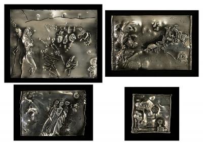 JORDI SAMSÓ (Barcelona, 1929).Conjunto de cuatro relieves sobre plancha.