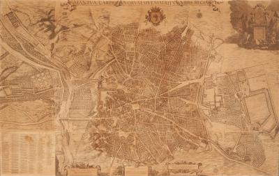 Mapa  urbano de Madrid. Grabado