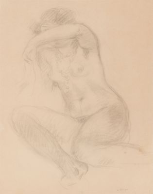 """Dibujo de mujer desnuda"" Escuela Francesa; siglo XX."