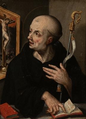 """""""Santo en meditación"""". Escuela flamenca de hacia 1600."""