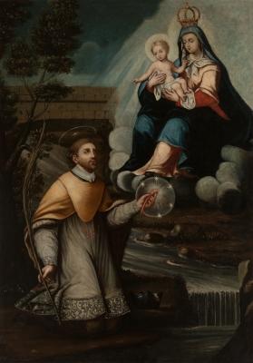 """""""Aparición de la Virgen a un santo"""". Siglo XVII"""