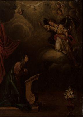 """Escuela española; siglo XVIII.""""Anunciación"""",Óleo sobre lienzo."""