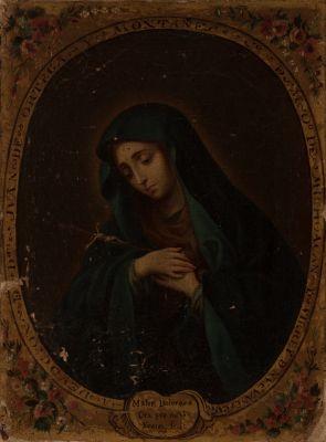 """JUAN RODRIGUEZ JUAREZ (México, 1675-1728).""""Mater dolorosa""""."""