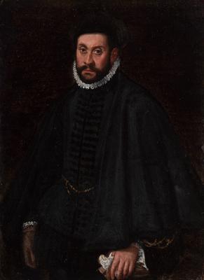 """""""Retrato de caballero"""" Escuela italiana; hacia 1670."""