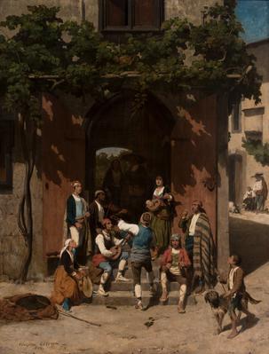 """""""Escena andaluza"""", 1843. ADOLPHE PIERRE LELEUX"""