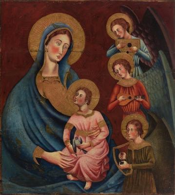 """""""Virgen con Niño y ángeles músicos"""". Siglo XIX"""