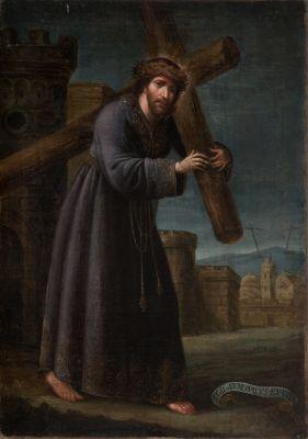 """""""Cristo con la cruz"""". Escuela sevillana; hacia 1700"""