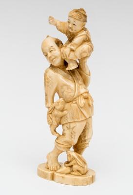 """""""Figuras con conejos"""" Talla en marfil; Japón, siglo XIX."""