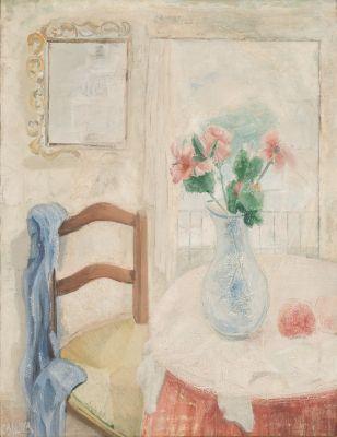 """JUAN MANUEL DÍAZ CANEJA (Palencia, 1905 – Madrid, 1988).""""Interior con jarrón con flores"""