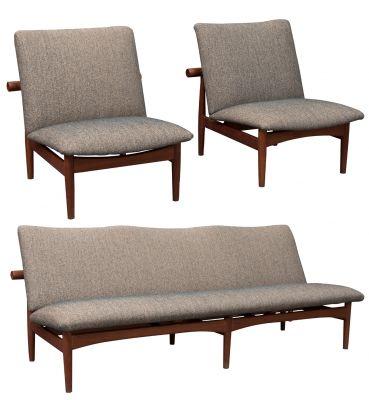 Japan armchair set, Finn Juhl for France & Son / France & Daverkosen; 1953.Gilded brass, teak wood and woolen cloth.