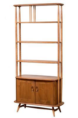 Windsor Giraffe screen shelf, ERCOL; England, 1960s.Solid elm wood.