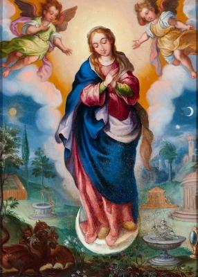"""""""Inmaculada concepción"""" Escuela colonial, siglo XVIII."""