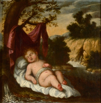 """""""Niño Jesús dormido"""". Siglo XVII"""