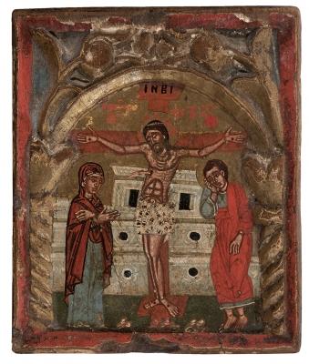 """""""Crucifixión con San Juan y la Virgen""""."""