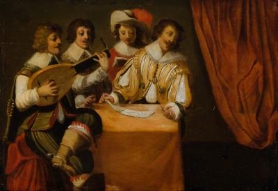 """Escuela holandesa del siglo XVII. """"Concierto""""."""