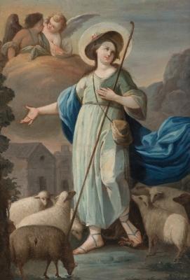 """Divina Pastora"". Escuela valenciana, siglo XVIII."