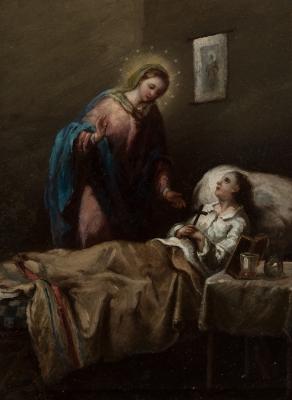 """""""Visita de la Virgen a una moribunda"""" Círculo de GOYA Y"""