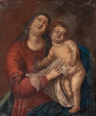"""""""Virgen con Niño"""". Seguidor de VAN DYCK, Anton"""