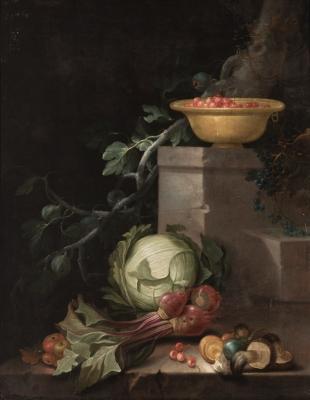 """""""Bodegón de frutas y verduras"""" Escuela francesa del siglo XVII."""