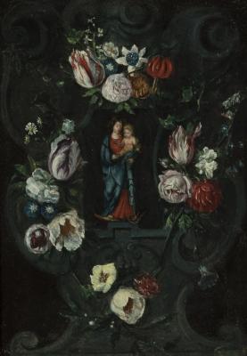 """""""Virgen con niño y flores"""""""
