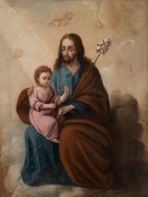 """""""San José con el Niño"""" Escuela española; siglo XVIII."""