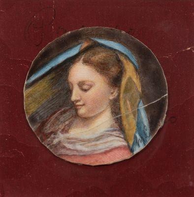 """""""Cabeza femenina"""". Escuela italiana; siglo XVIII."""