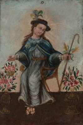 """""""Divina pastora"""". Escuela Colonial; siglo XVIII."""