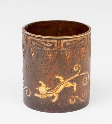 Bote de pinceles; China, siglo XIX. Bronce