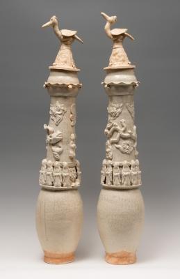Pareja de urnas funeraria; China, dinastía Song, 960-1279.