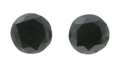 Pareja de diamantes negros, tratados, talla brillante,
