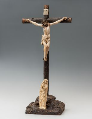 Cristo crucificado con Virgen doliente; Escuela hispano...