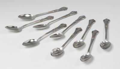 Colección de nueve cucharitas de plata, mediados del siglo XX.