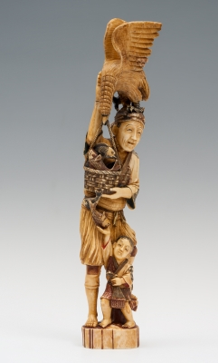 """""""Pescador y niño"""" Escuela japonesa, periodo Mieji, siglo XIX."""