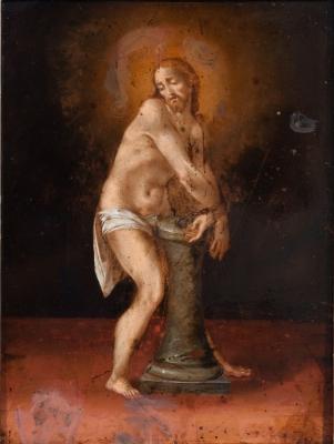 """""""Cristo atado a la columna"""" Escuela italiana, hacia 1600."""