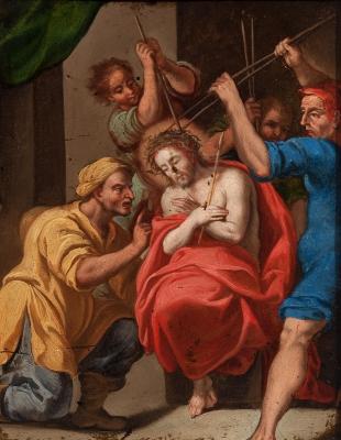 """""""Escarnio de Cristo"""". Escuela italiana, siglo XVII."""
